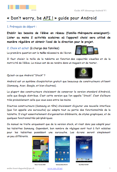 guide android titre